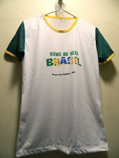 Brasil Soccer Football Jersey Pocos De Caldas RUMO AO HEXA Med-Large White Green