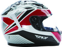 Fly Racing Conquest Mosaic Full Face Motorcycle Helmet White/Red/Black - Adult