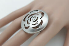 Women Ring Silver Fancy Metal Flower Hollow Floral Fashion Jewelry Elastic Band