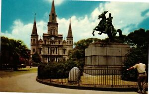 Vintage Postcard - ST Louis Cathedral And Jackson Monument New Orleans #5495