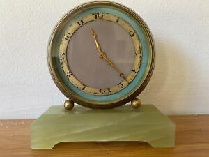 Art Deco Brass & Onyx Clock Small Mantel or Desk Clock Working Swiss Made