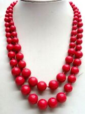 "Red Bead 20"" Necklace! 4017L Stunning Vintage Estate Double Strand"