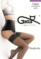 Sexy Gatta Margherita halterlose Netz Strümpfe XS-L Schwarz Nylons Nylonstrümpfe