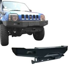 Hooke Road Front Bumper w/Winch Plate & 2x LED Lights for 1998-2015 Suzuki Jimny