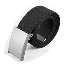 Black Unisex Cotton Fabric Canvas Belt Army Style Combat Webbing Silver Buckle