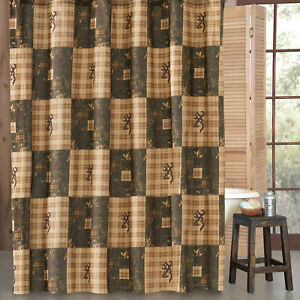 "Browning Country Fabric Shower Curtain 72""x72"" Buckmark Camo Plaid Patchwork"