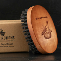 Seven Potions Beard Brush, Firm 100% First Cut Boar Bristles in Pear Wood