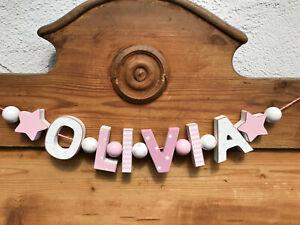 """OLIVIA"" NAMENSKETTE KINDERZIMMER ROSA HOLZBUCHSTABEN TAUFE GEBURT BABY NAME"