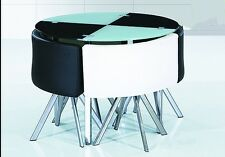 NEW MODERN space saver Black & white round Glass Dining Table & 4 Chairs Set