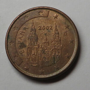 Spain Euro Cent 2002(M) Copper Plated Steel KM#1040 aUNC
