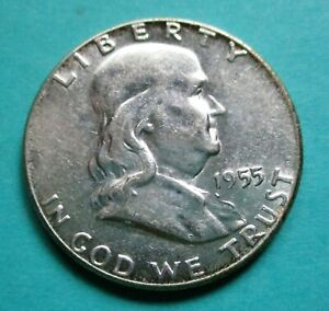 1955 FRANKLIN HALF DOLLAR. 90% SILVER. RAW, UNCERTIFIED & CIRCULATED. (C)