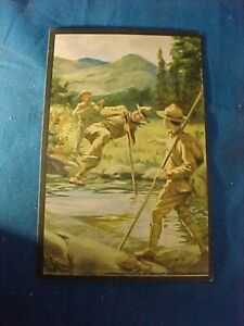 1914 SCOUT GUM Co Postcard # 7-BOY SCOUTS VAULTING A STREAM by HC EDWARDS