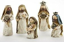 "Kids Christmas Nativity 5 Pc Figure Manger 6"" Set Holy Family Shepherd Wise Men"