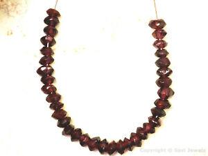 "Garnet 4-4.5mm Faceted Rondelle Gemstone Beads 3.5"" strand"