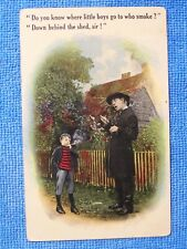Scarce Vintage Original Anti Smoking Post Card 1915 little boy cigarettes