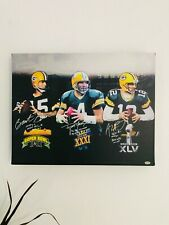 Green Bay Packers Quarterbacks Autograph Reprint 11x14 Canvas Wall Art