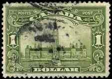 Canada #159 used F-VF 1929 Scroll $1 olive green Parliament Building CV$90.00