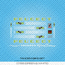 Peugeot Tandem Bicycle Decals - Transfers - Stickers - Green & White - Set 768