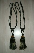 Large Curtain Tie Back Tassels Gold and Black Set of 2