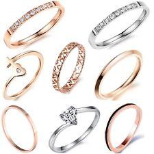 Damenring Verlobungsring Edelstahl Kristall Herz Ehering dünn Partner Ring