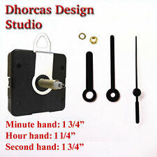 "(#011) Quartz Clock kit 3/4"" thread LONG SHAFT, HANGER quiet motor & 1 3/4"" hand"