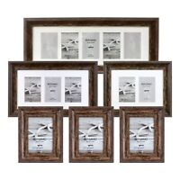 Kenro Bergamo Rustic Brown Wood Effect Photo Frame Single Double Triple Collage