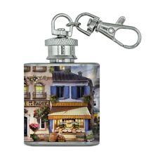 Old Paris France Eiffel Tower Stainless Steel 1oz Mini Flask Key Chain