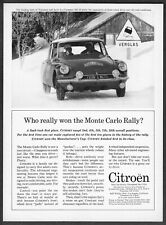 """1963 Citroen DS-19 Sedan photo Monte Carlo Rally """"First in its Class"""" print ad"""