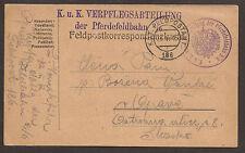 AUSTRIA / POLAND. WW1. 1918. FELDPOST. FPO 186. HORSE DRAWN RAILWAY RATIONS UNIT