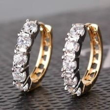 18ct yellow gold Filled Topaz Hoop Huggie Earrings White Sapphire Stone