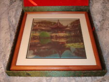 Chinese Silk Framed Picture Art Suzhou Classical Gardens Silk Printmill in case