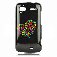 For HTC Sensation 4G Protector Hard Case Snap on Phone Cover Skull Heart