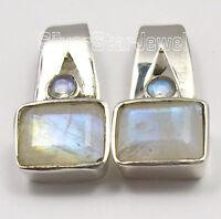"925 STERLING Silver BLUE RAINBOW MOONSTONE 2 GEM NEW Studs Earrings 3/4"""