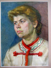 ANTIQUE RUSSIAN UKRAINIAN SOVIET USSR PAINTING PICTURE YOUNG  GIRL PORTRAIT 1950