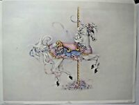 "Art Print 12"" x 16""  Carousel Horse Printed 1991 Bentley House California"