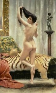 LMOP1416 100% handmade-painted long hair naked woman oil painting art on canvas