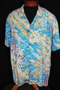 VINTAGE 1990'S  SILKY RAYON HAWAIIAN  SHIRT SIZE XL