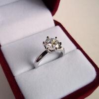 2.0 Carat Diamond Solitaire Ring Size J K L M N Platinum Finished Never Tarnish