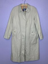 Women's Vintage Burberry Trench Coat Sz M/L 18 Long Nova Check Lining