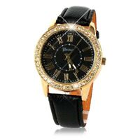 Bling Gold Crystal Women Luxury Leather Strap Quartz Wrist Watch Men's Watch