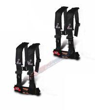 "Dragonfire Seat Belt Harness 4 Point 3"" Padded Black Pair Yamaha Can Am Polaris"