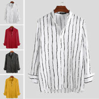 Men's Casual Long Sleeve Shirt Collarless Striped Loose Blouse Holiday Top Shirt