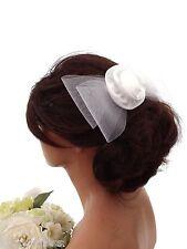 Large White Mesh Net Bow Satin Rosette Hair Comb Slide Fascinator Bridesmaid