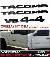 3PCS 2016-20 TOYOTA TACOMA TRD OFF ROAD V6 BLACKOUT EMBLEM OVERLAY KIT OEM 4x4