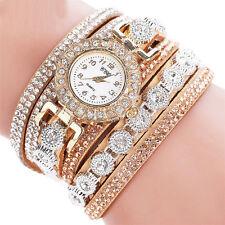 Fashion Women Stainless Steel Rhinestones Bracelet Analog Quartz Wrist Watch