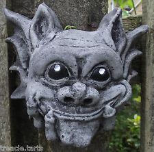 Small Smiling Gargoyle Wall Plaque-Hand Cast Stone Garden Ornament-15x7x13 cms