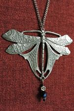 Dragonfly Medieval Celtic Pendant Dragon Pagan Crystal Silver Pewter Necklace