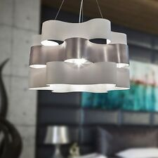 Lampadario a Sospensione design moderno onde diametro 60  BIANCO ARGENTO 6 luci