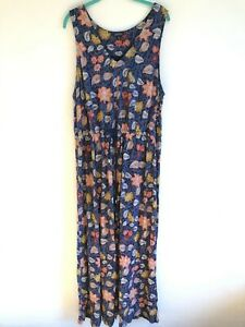 Women's Lucky Brand Sleeveless Floral Print Maxi Dress Draw String Waist Size 2X