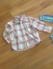 H&M Tolles Moderne Hemd Junge Weiß-Grau-Lachs  **Sehr Süß**  Gr. 98  w.Neu